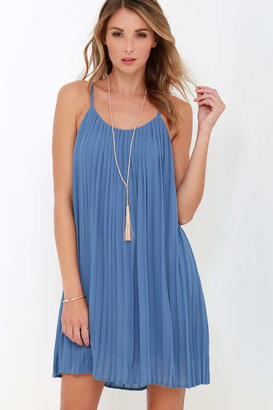 Lovely Slate Blue Dress - Pleated Dress - Shift Dress - $64.00