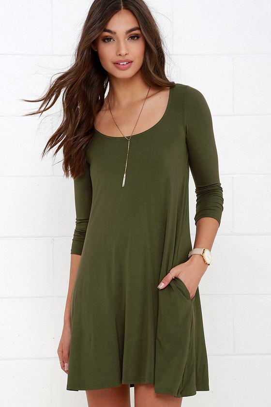Twirl Power Olive Green Swing Dress