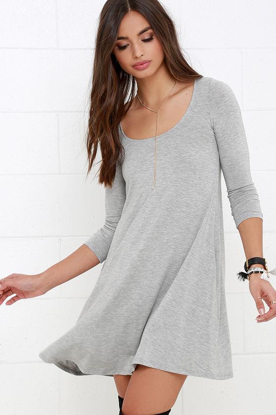 dfb8b32055b8 Cute Heather Grey Dress - Swing Dress - Long Sleeve Dress -  34.00