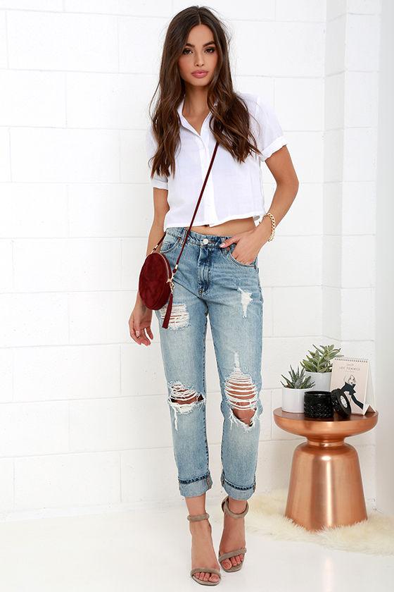 Blank NYC Thrifter Light Wash Distressed Boyfriend Jeans 2