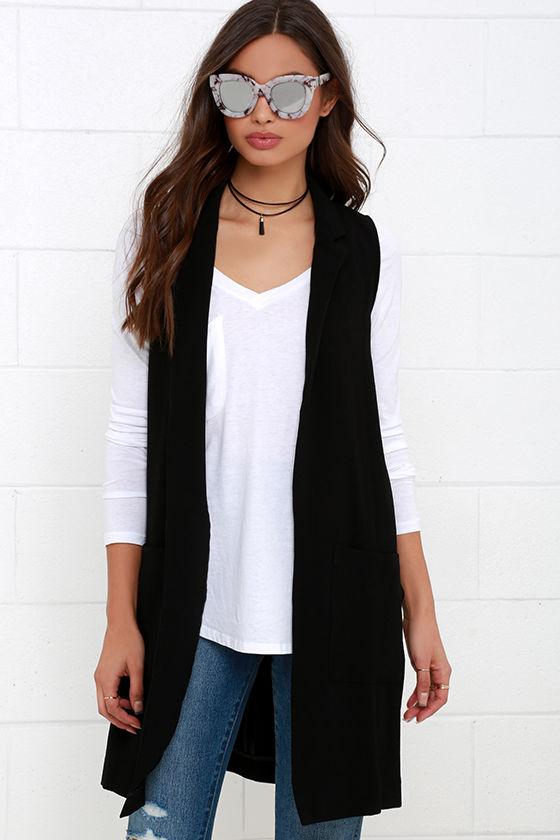 black vest sleeveless top long vest 6100