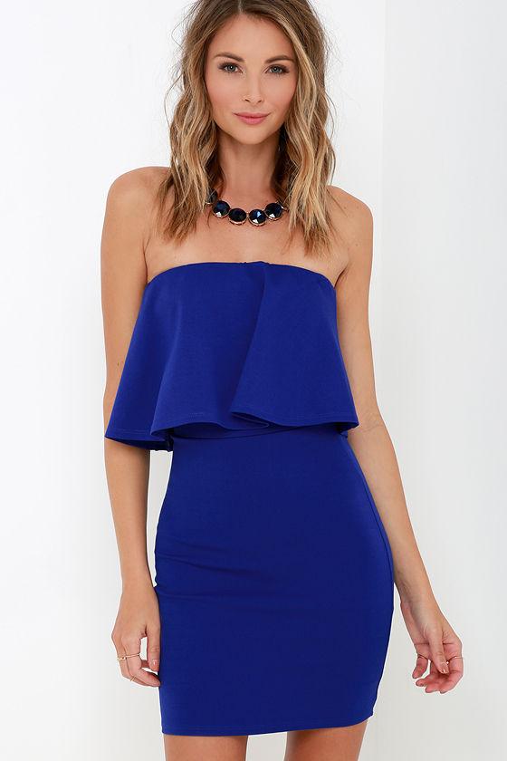 Sexy Cobalt Blue Dress - Strapless Dress - Bodycon Dress - $42.00