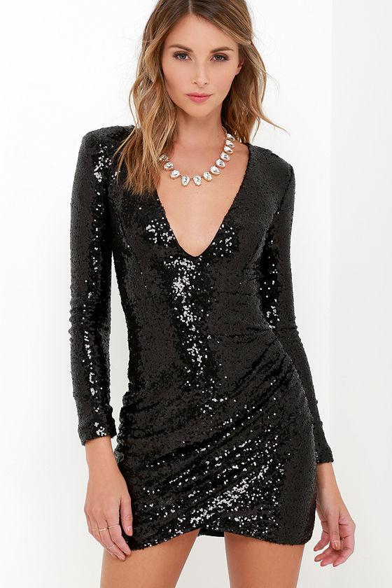 Pretty Black Dress - Sequin Dress - Long Sleeve Dress - $54.00