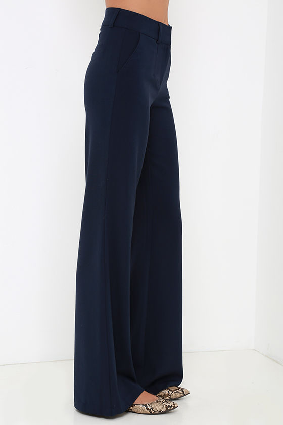 Chic Navy Blue Pants - Wide Leg Pants - Blue Trousers - $49.00