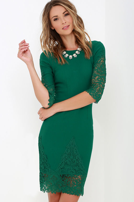 Green Dress - Lace Dress - Midi Dress - $45.00