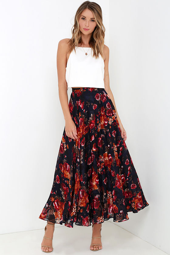 Navy Blue Floral Print Skirt - Maxi Skirt - High-Waisted Skirt ...