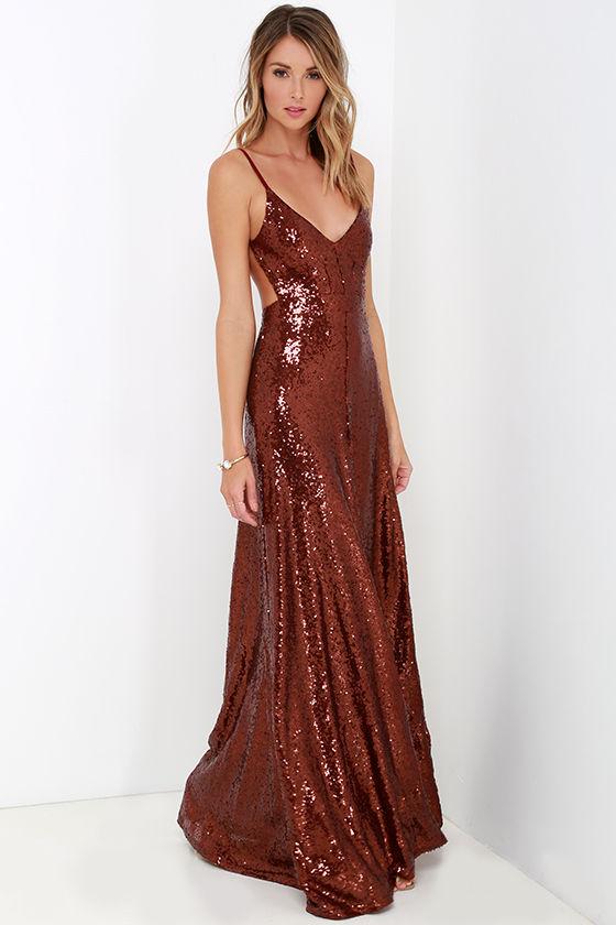 Beautiful Wine Red Maxi Dress - Sequin Maxi Dress - Backless Dress ...