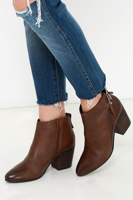 c4fe7437c Cute Brown Ankle Boots - Leather Booties - Ankle Booties - $149.00