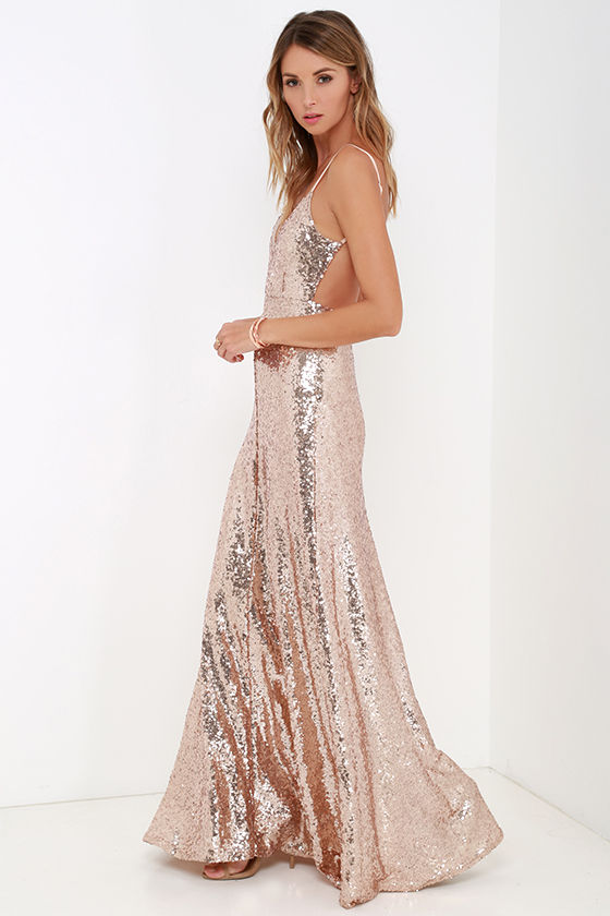 Beautiful Gold Maxi Dress - Sequin Maxi Dress - Backless Dress ...