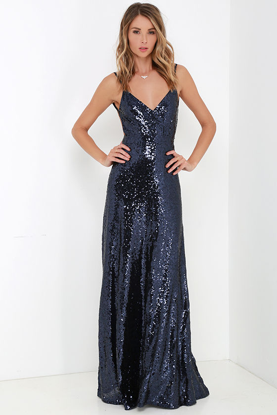 f2b0abb9 Beautiful Navy Blue Maxi Dress - Sequin Maxi Dress - Backless Dress ...