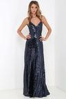 Beautiful Navy Blue Maxi Dress - Sequin Maxi Dress - Backless Dress ... 824e904163
