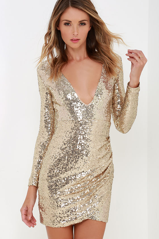 Pretty Gold Dress - Sequin Dress - Long Sleeve Dress - $54.00