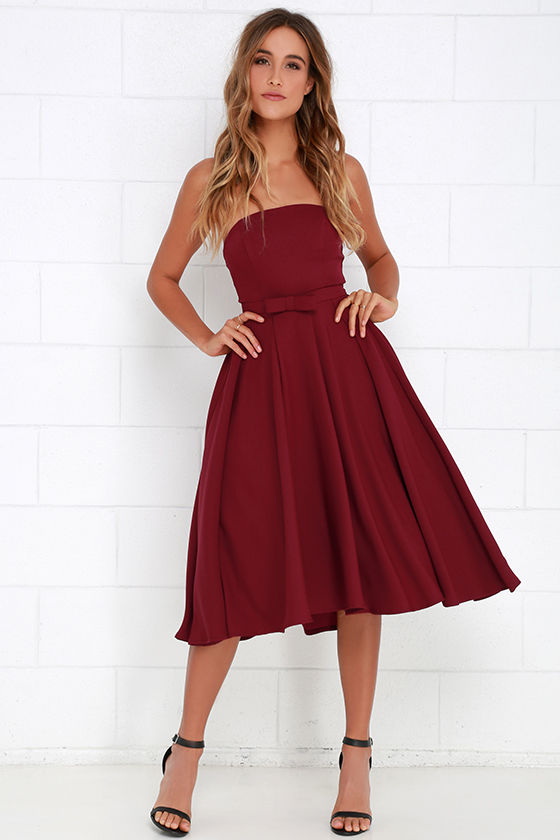 Lovely Wine Red Dress - Midi Dress - Strapless Dress - Tulle Dress ...