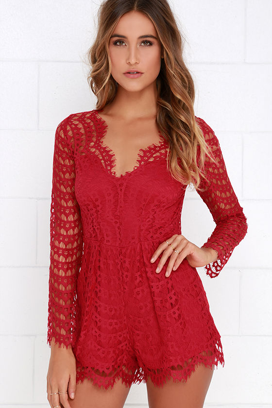 a90598bfb081 Cute Red Romper - Red Lace Romper - Long Sleeve Romper -  64.00
