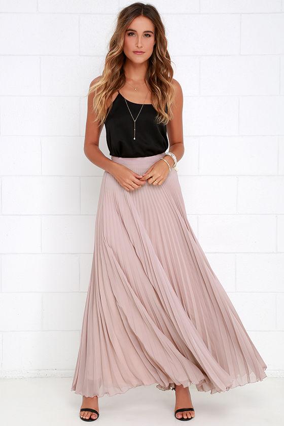 5fe667467 Mauve Skirt - Maxi Skirt - Pleated Skirt - High-Waisted Skirt - $65.00