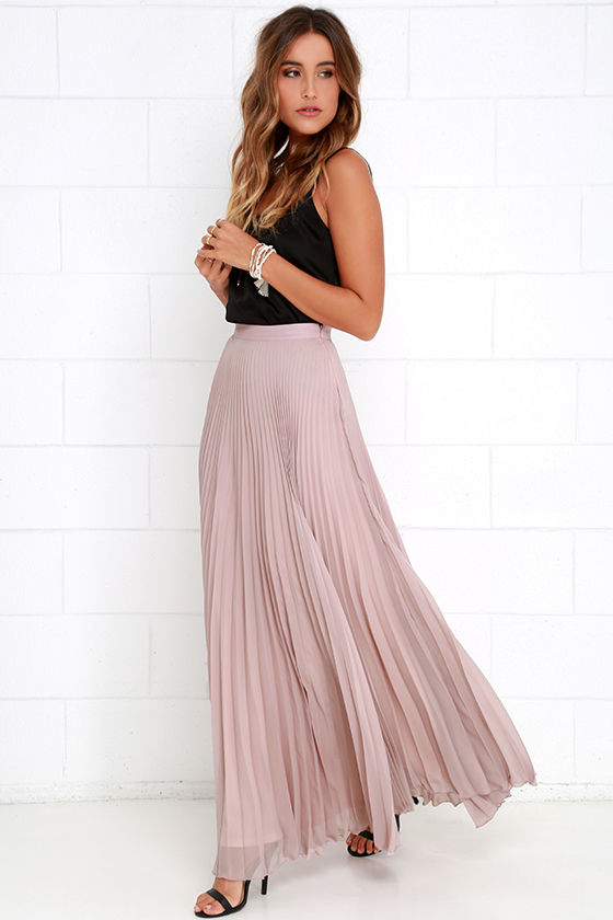 Mauve Skirt - Maxi Skirt - Pleated Skirt - High-Waisted Skirt - $65.00