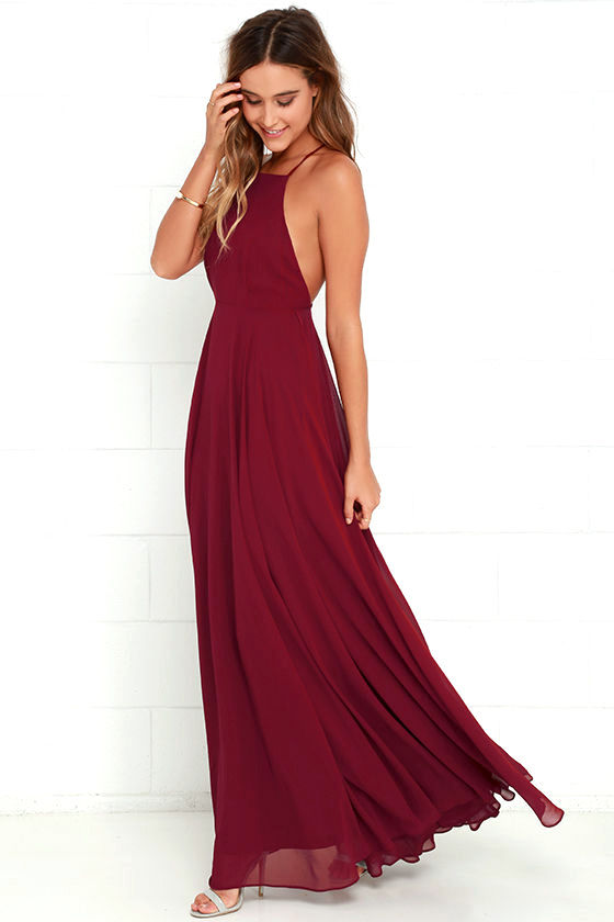 42079be233f2e Mythical Kind of Love Wine Red Maxi Dress