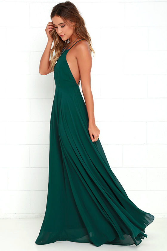 Beautiful Dark Green Dress - Maxi Dress - Backless Maxi Dress - $64.00