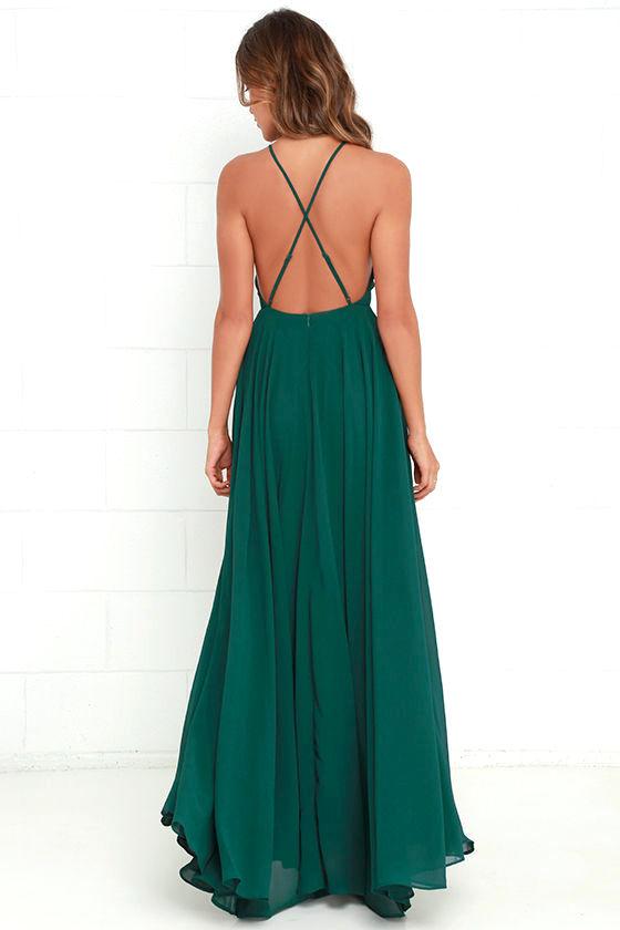 Beautiful Dark Green Dress - Maxi Dress - Backless Maxi Dress - $64.00