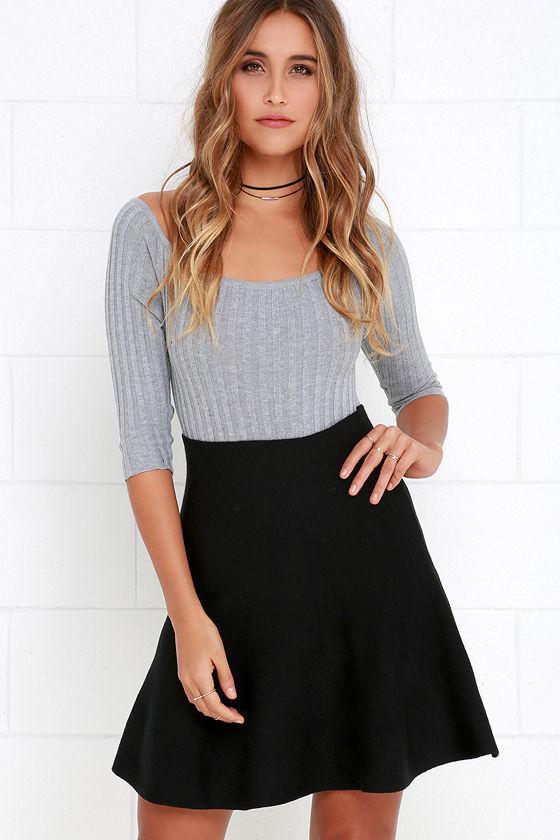 Sweater Skirt - Skater Skirt - Black Skirt - High-Waisted Skirt ...