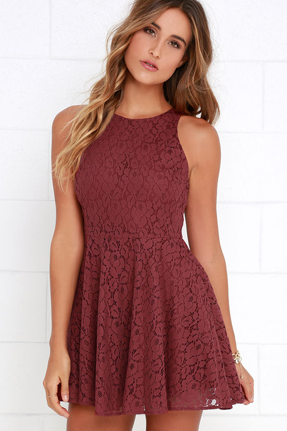 Lucy Love Hollie Jean - Skater Dress - Lace Dress - Maroon Dress ...