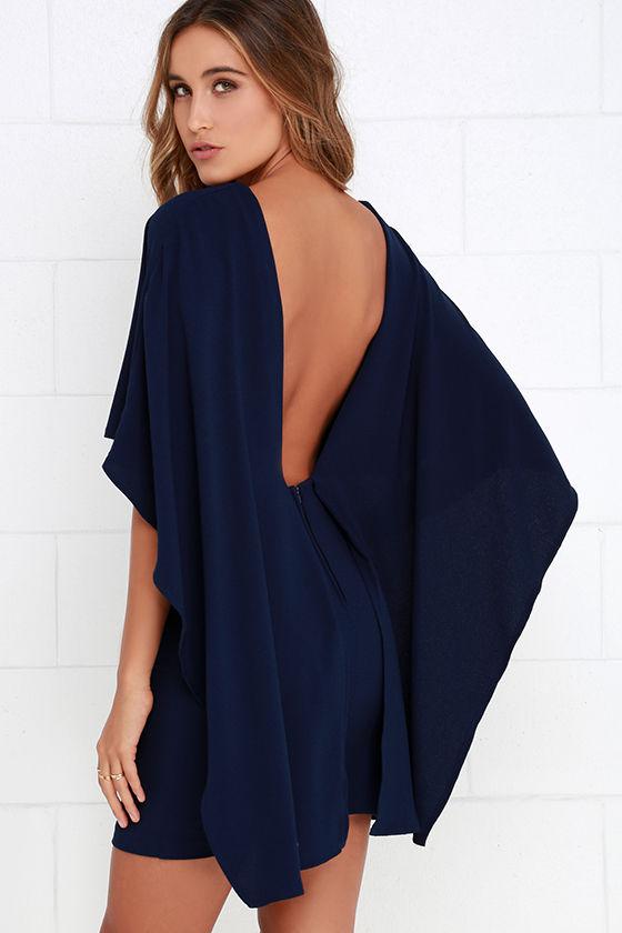 Brand-new Navy Blue Dress - Backless Dress - Cape Dress - $54.00 JM24