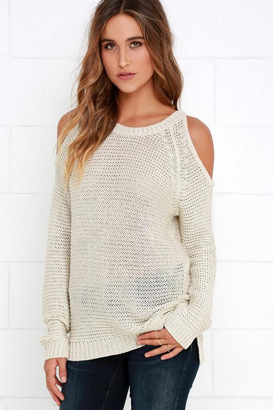 3a277472d0f38 Cute Beige Sweater Top - Cold Shoulder Sweater - Knit Sweater -  70.00
