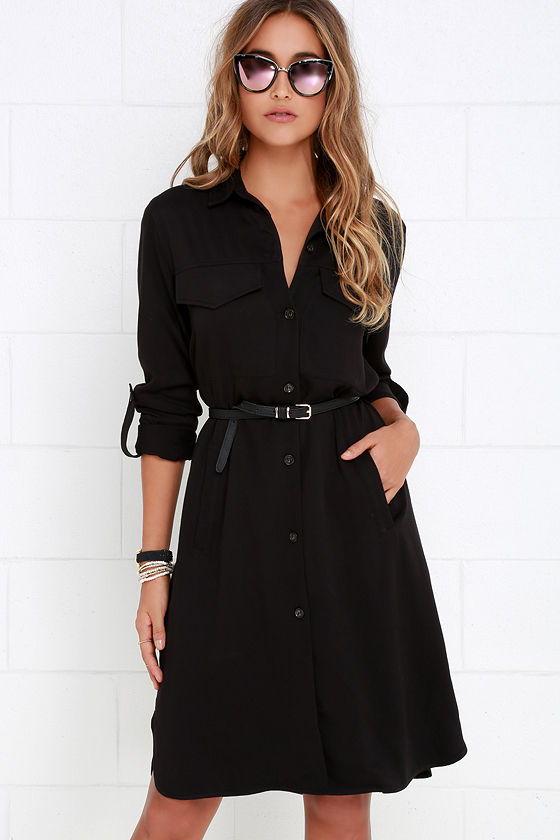 Cute Black Dress - Shirt Dress - Lightweight Jacket - $64.00