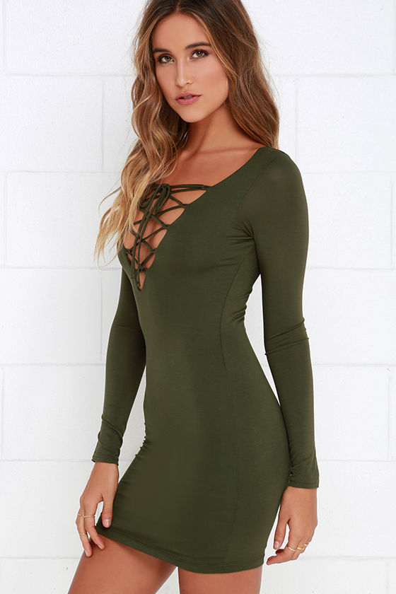 Sexy Olive Green Dress - Long Sleeve Dress - Lace-Up Dress ...