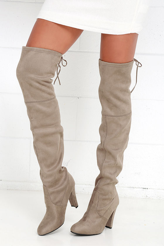 e2727936fe1c76 Steve Madden Gorgeous Boots - Taupe Suede Boots - Over the Knee ...