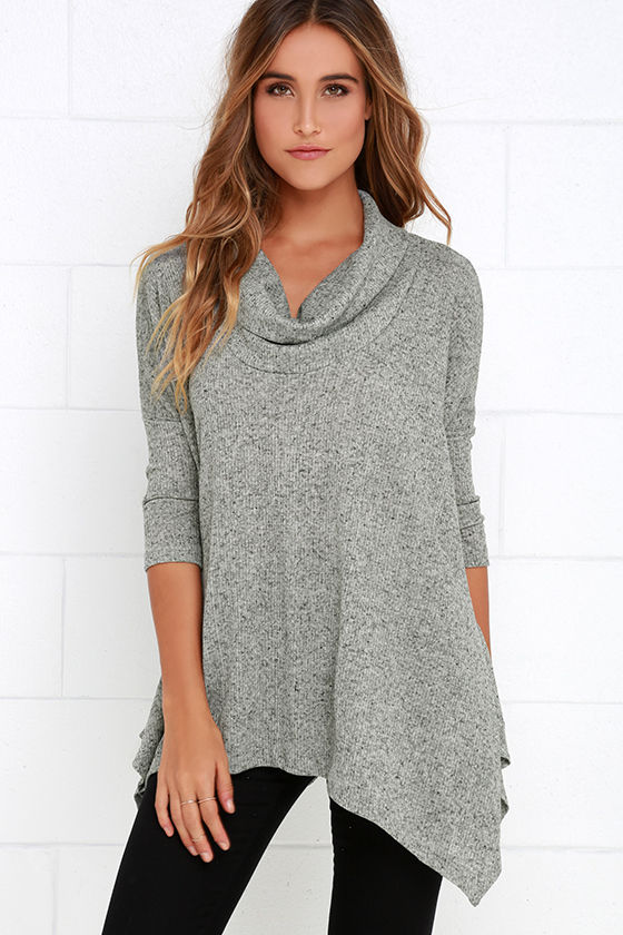 26e0fc70854dd6 Grey Top - Oversized Top - Cowl Neck Top -  39.00