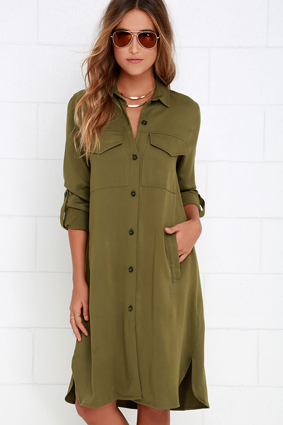 9e4b2969f413 Cute Olive Green Dress - Shirt Dress - Lightweight Jacket -  64.00