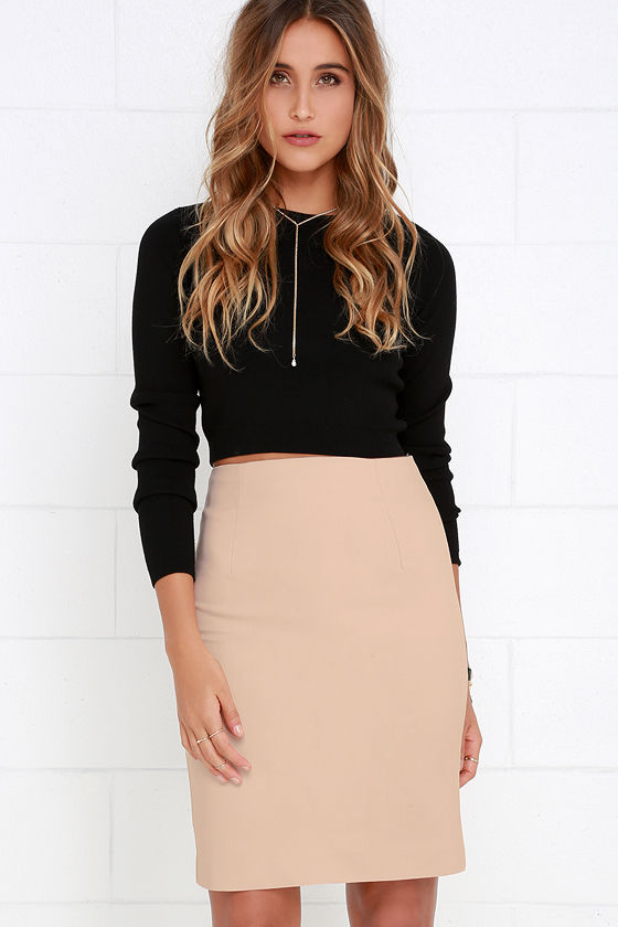 Chic Beige Skirt - Pencil Skirt - Bodycon Skirt - $36.00