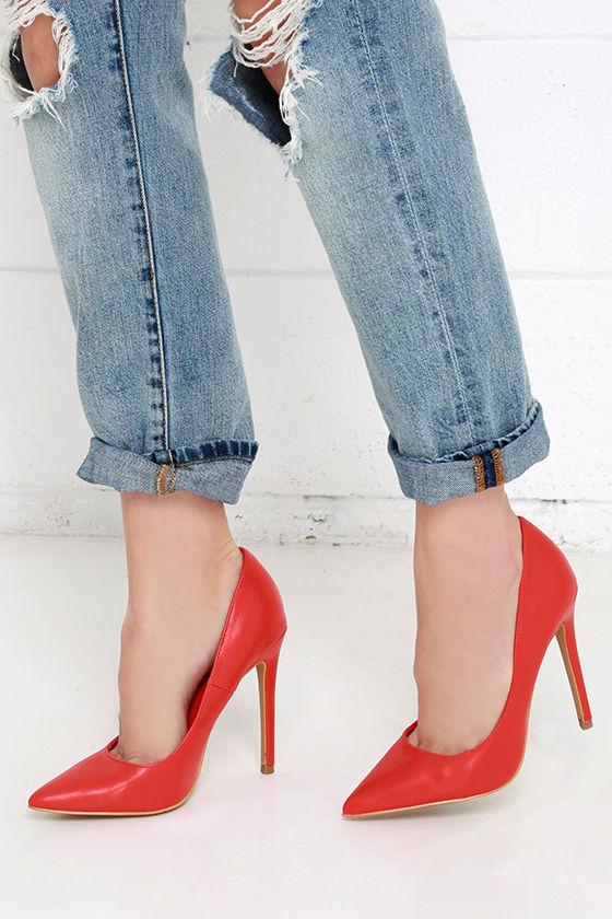 Pretty Red Pumps - Pointed Pumps - Red Heels - $34.00