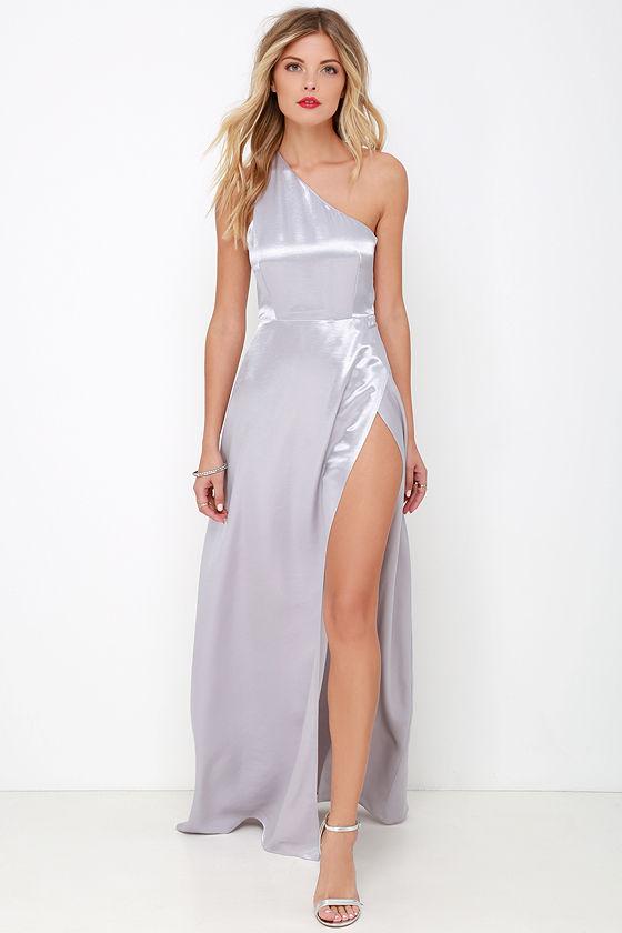 One shoulder silver dresses