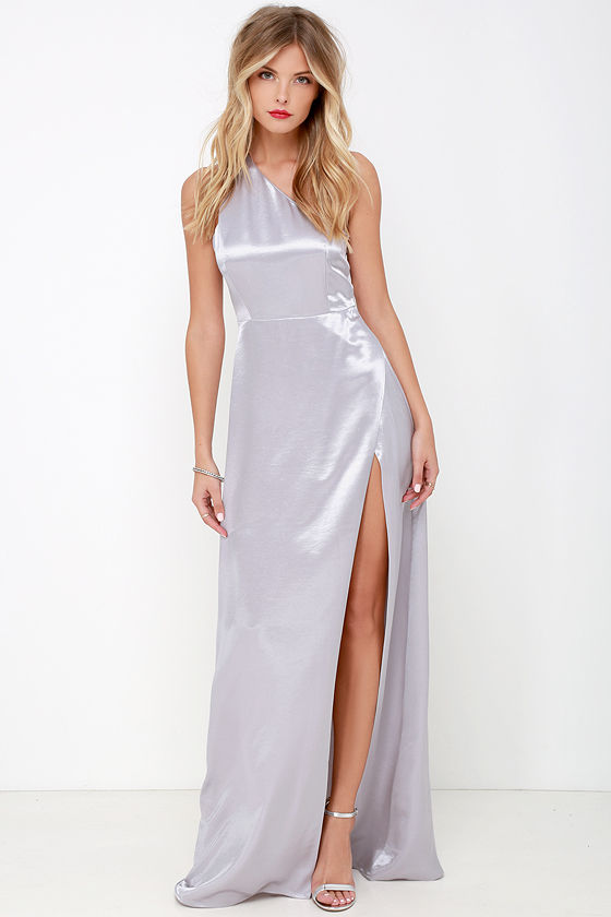 Starlet Loose Silver Satin One Shoulder Maxi Dress