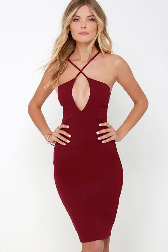 9d056b64b Sexy Wine Red Dress - Bodycon Dress - Backless Dress -  46.00