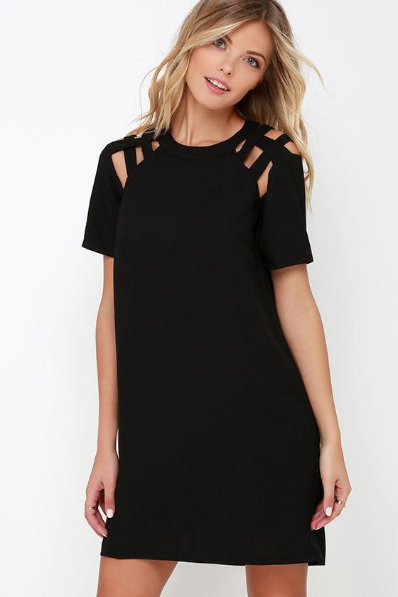 Black Dress - Shift Dress - Short Sleeve Dress - $42.00