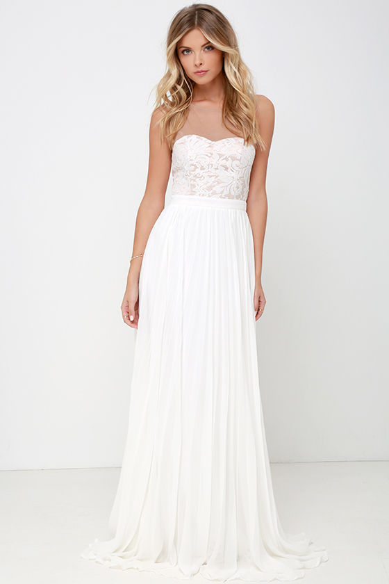 c4d1a2f363b Ivory Gown - Maxi Dress - Embroidered Dress - White Dress -  78.00