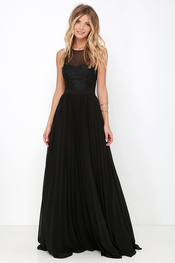 Black Gown Maxi Dress Embroidered Dress Black Dress