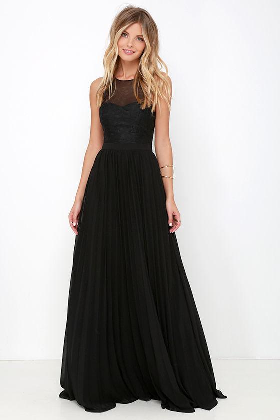 Black Gown - Maxi Dress - Embroidered Dress - Black Dress - $78.00