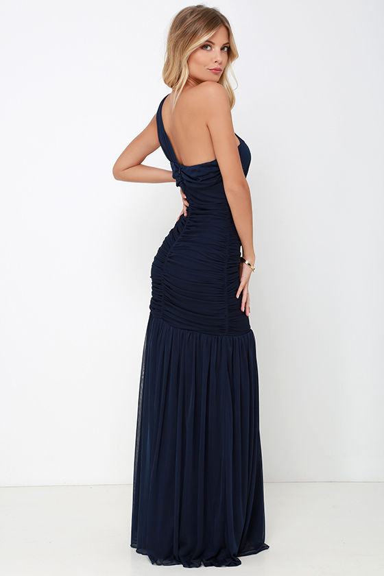 One Shoulder Dress - Maxi Dress - Navy Blue Dress - $98.00