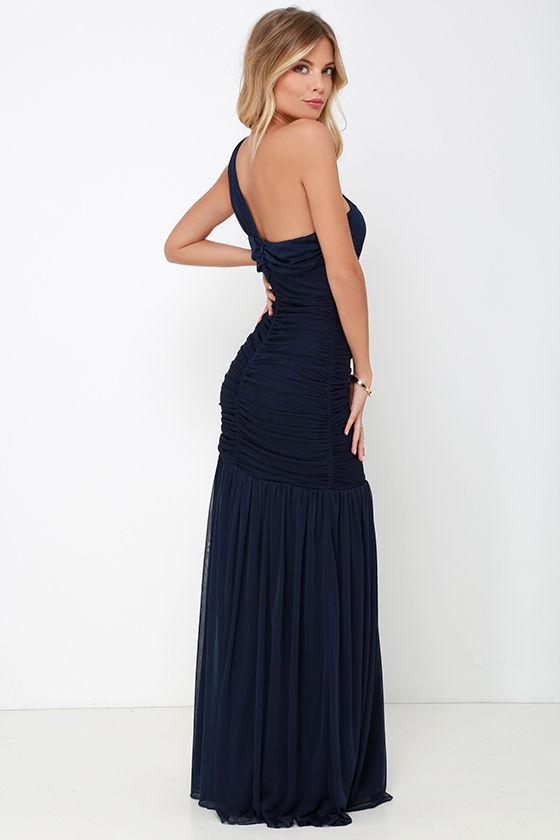 One Shoulder Dress - Maxi Dress - Navy Blue Dress - $98.00