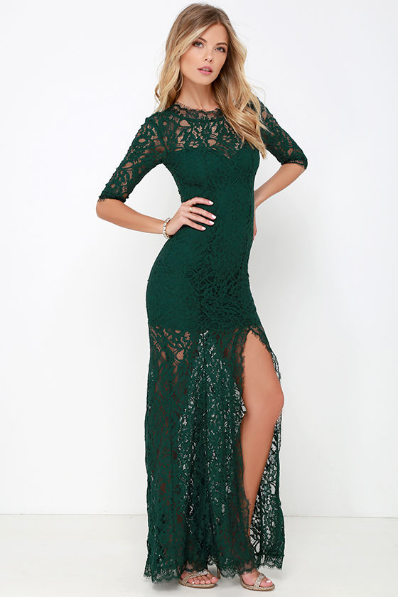 Gorgeous Dark Green Dress - Lace Dress - Half Sleeve Dress - Maxi ...