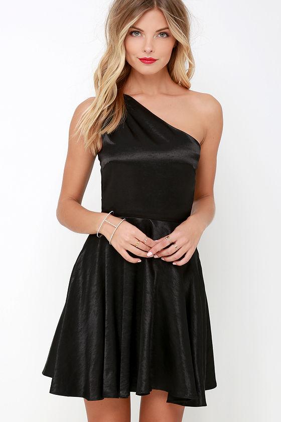 Lovely Black Dress - Skater Dress - One Shoulder Dress - $57.00