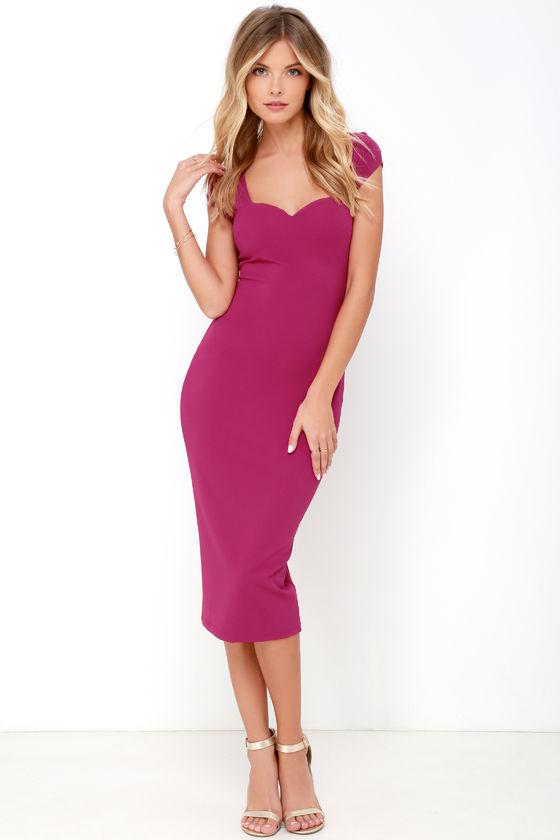 f17fb2a2f8d0 Magenta Dress - Midi Dress - Bodycon Dress - $64.00