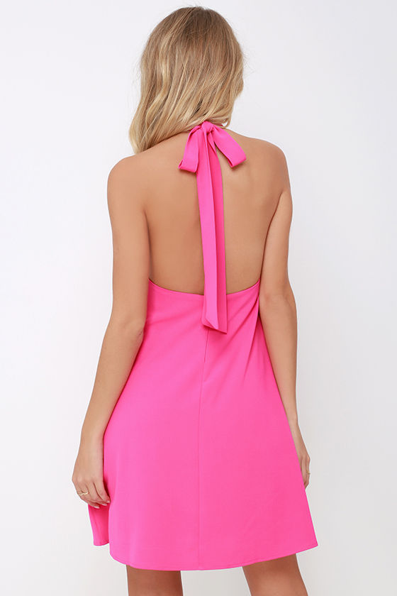 Chic Hot Pink Dress - Halter Dress - Trapeze Dress - $58.00