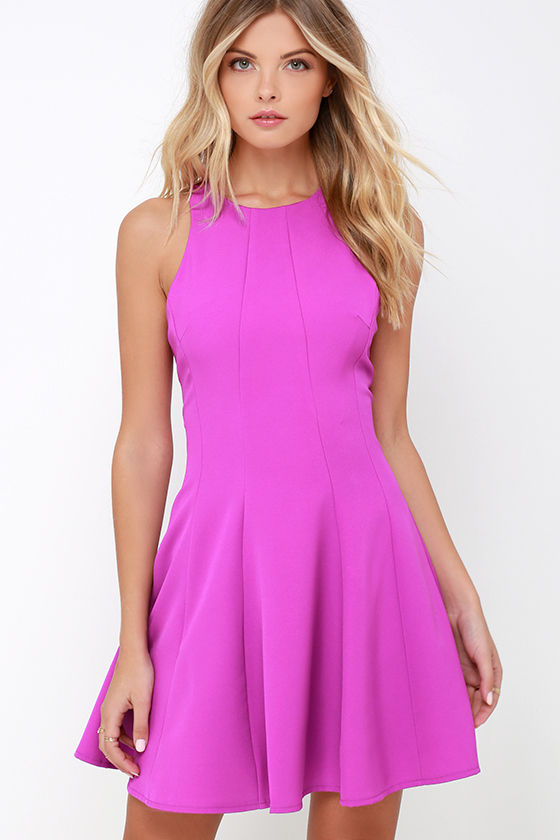 Cute Bright Purple Dress Fit And Flare Dress