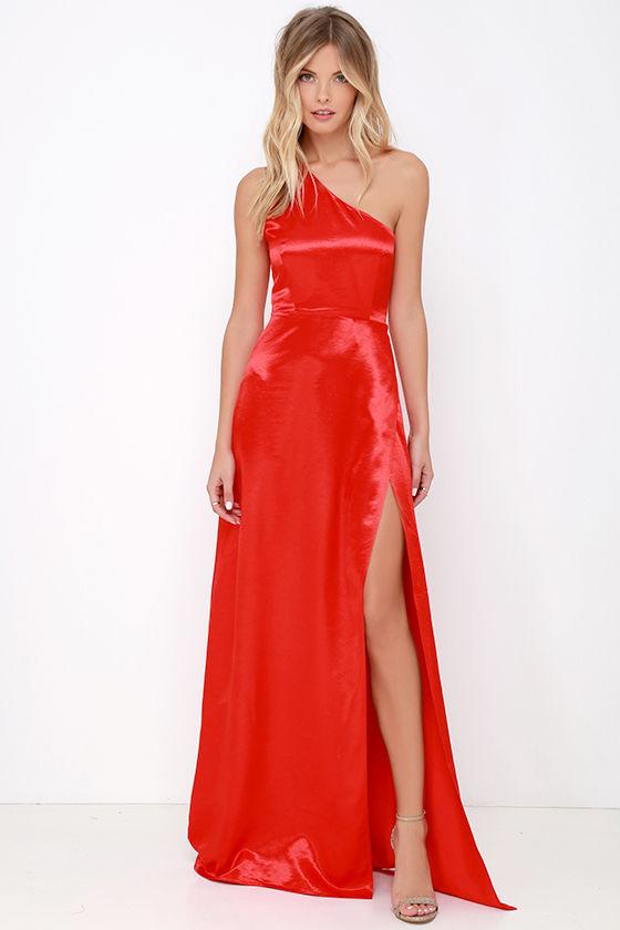Lovely Red Dress - One Shoulder Dress - Maxi Dress - Satin Dress ...