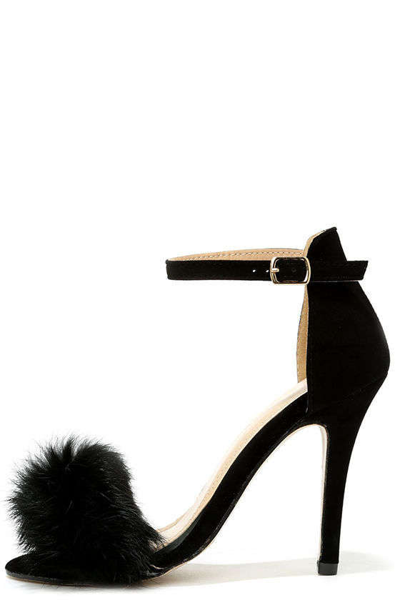 Fortune and Femme Black Fur Ankle Strap Heels - $33.00